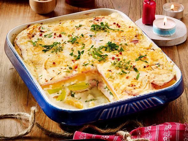 Steckrüben-Lasagne mit Porree-Rahm und Kasseler Rezept
