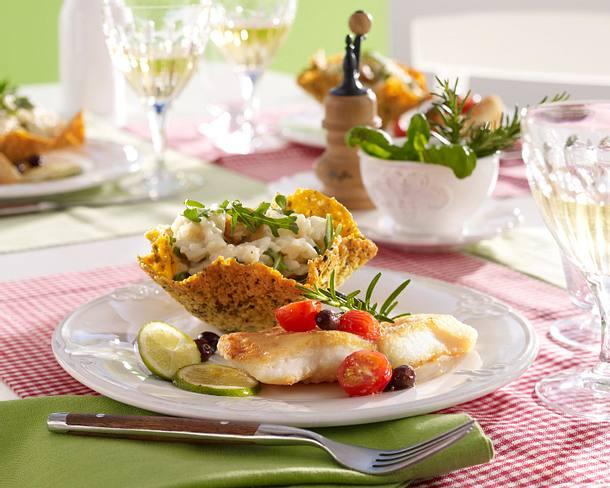 Steinbuttfilet mit Pilzrisotto im Parmesankörbchen Rezept