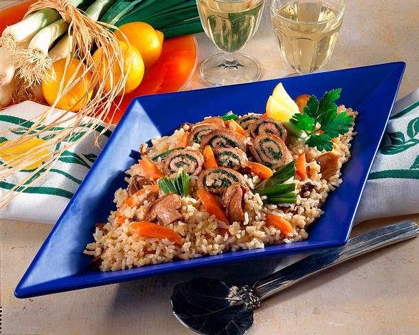 Steinpilz-Gemüse-Risotto mit Kalbsröllchen Rezept