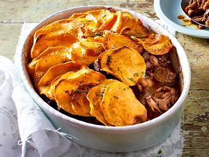 Stew-Auflauf mit Süßkartoffelchips Rezept