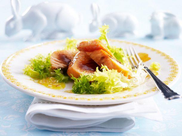 Ostermenü - Vorspeise: Stremellachs auf Friséesalat Rezept