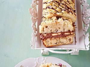 Streusel-Bananen-Kastenkuchen mit Schokoladensahne Rezept