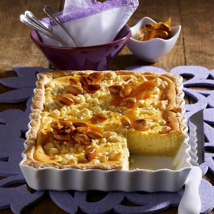 Streusel-Käse-Kuchen mit Mandeln Rezept