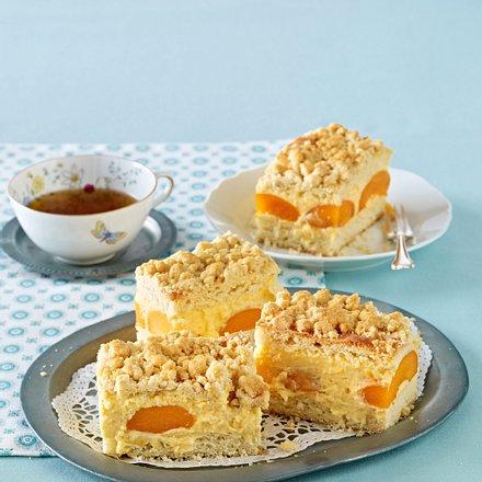 Streuselkuchen mit Aprikosenpuddingcreme Rezept