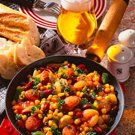 Süß-saure Gemüse- Wurstpfanne Rezept