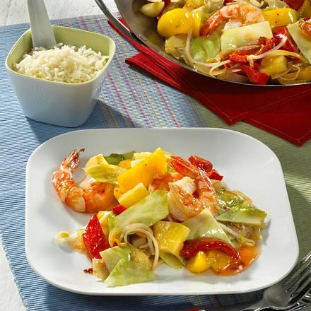 Süß-saures Gemüse mit Garnelen und Reis Rezept