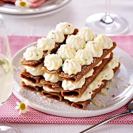 Süße Lasagne aus Plätzchen und Vanillecreme (Millefeuille) Rezept