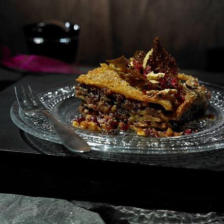 Süße Lasagne mit Karamell-Creme und Walnuss-Cranberry-Pesto Rezept