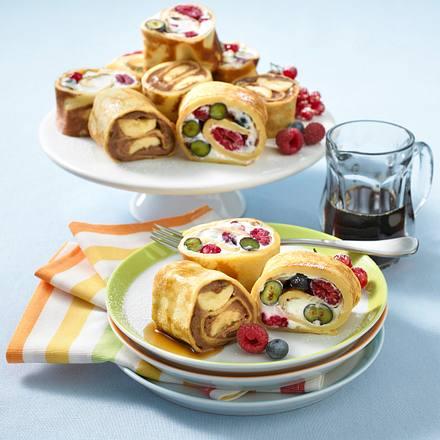 Süße Pfannkuchenröllchen Rezept
