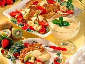 Süße Schuhsohlen mit Obst-salat Rezept