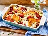 Süßkartoffel-Auflauf mit Feta und Pinienkernen Rezept