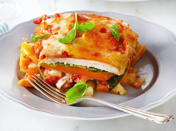Süßkartoffel-Lauch-Lasagne mit Hähnchen Rezept