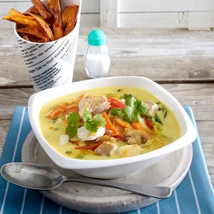 Süßkartoffel-Pommes zu Fischcurry Rezept