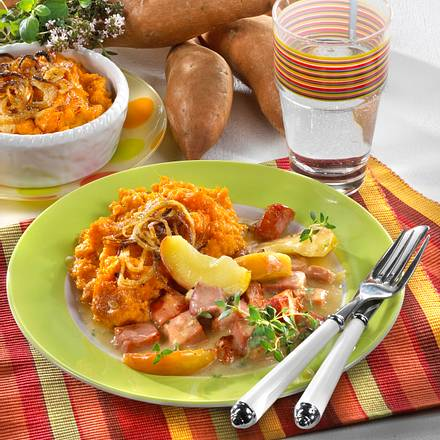 Süßkartoffel-Püree zu Kasseler-Ragout Rezept