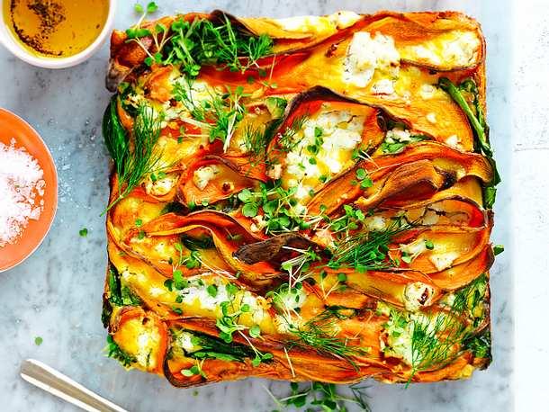 Süßkartoffel-Spinat-Auflauf Rezept