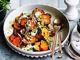 """Süßkartoffeln """"vom heißen Blechle"""" mit Knobidip Rezept"""