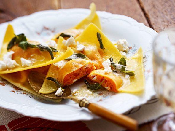Süßkartoffelravioli mit Ziegenkäse Rezept