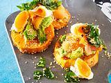 Süßkartoffelschnitten mit pochiertem Ei Rezept