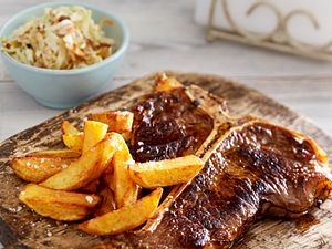 T Bone Steak mit Homemade XXL-Pommes Rezept