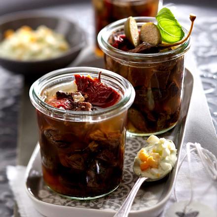 Tafelspitzsülze mit Basilikumcreme Rezept