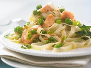 Tagliatelle mit Lachs in Erbsen-Minz-Soße Rezept