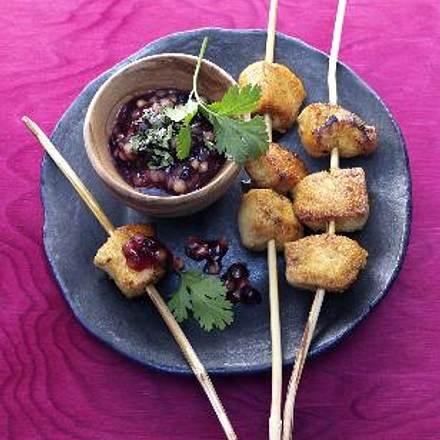 Tandoori-Chicken-Sticks mit Linsen-Blaubeer-Sauce Rezept