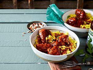 Tandoori-Lamm auf Mandel-Curryreis Rezept