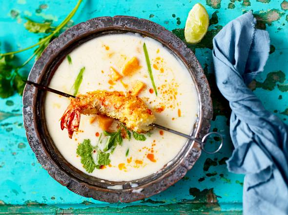 Thaigarnelenspieß zu Süßkartoffel-Kokossuppe Rezept