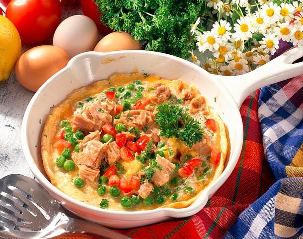 Thunfisch-Omelett mit Erbsen Rezept