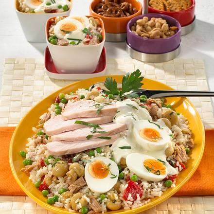 Thunfisch-Reis-Salat mit Pute & Ei Rezept