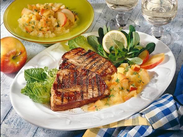 Thunfisch-Steaks mit Apfelkompott Rezept