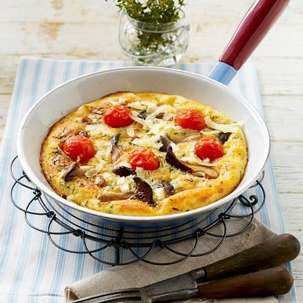 Thymian-Pfannkuchen mit Bergkäse und Kräuterseitlingen Rezept