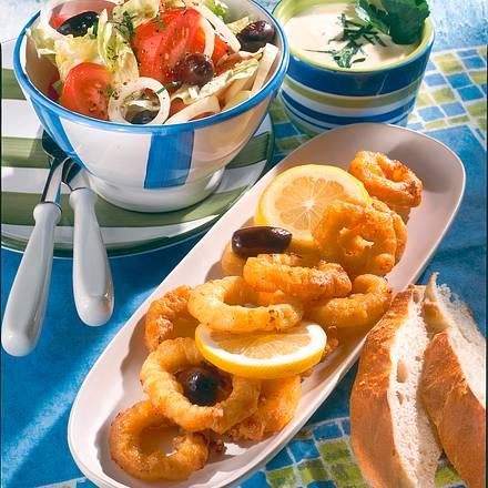 Tintenfischringe mit Salat Rezept