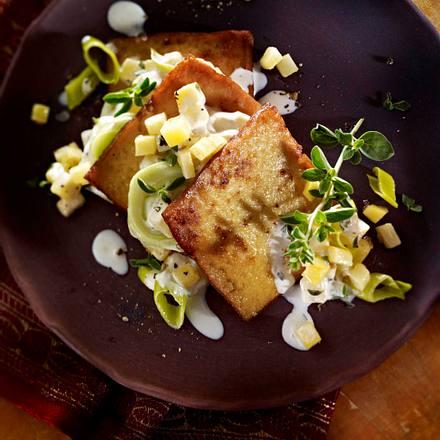 Tofu-Lasagne mit Steckrüben-Porree-Ragout und Salbei Rezept