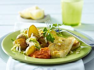 Tofu-Schnitzel mit Mandel-Paprikasoße zu Porree-Röstkartoffel-Gemüse Rezept