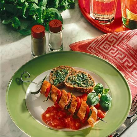 Tofuspieße mit Tomaten-Zwiebel-Soße Rezept
