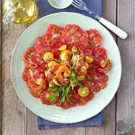 Tomaten-Carpaccio mit Garnelen Rezept