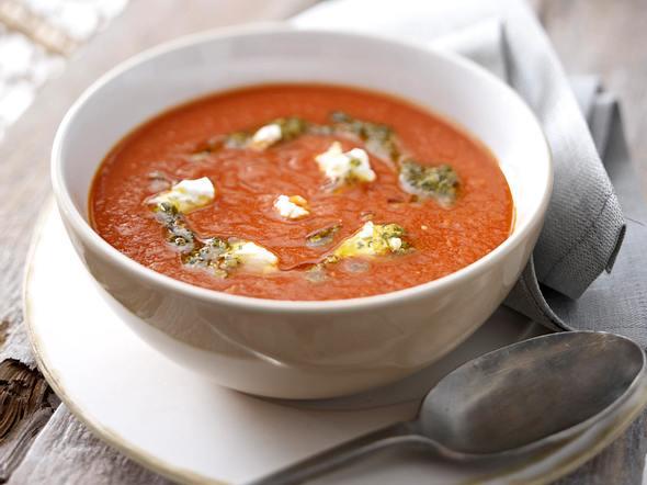 Tomaten-Curry-Creme mit Ziegenfrischkäse Rezept