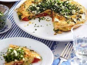 Tomaten-Frittata mit Kräutern und Schafskäse Rezept