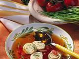 Tomaten-Gemüsebrühe mit Kräuterflädle Rezept