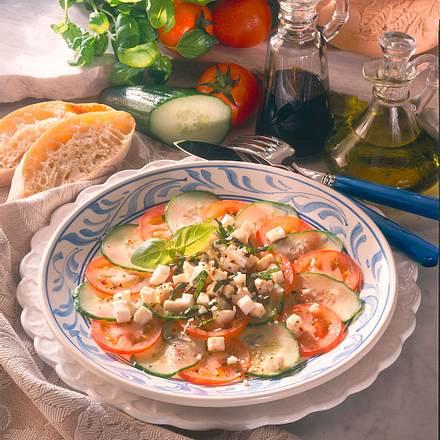 Tomaten-Gurken-Carpaccio Rezept