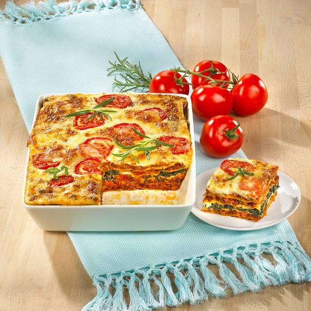 Tomaten-Lasagne mit Sojabolognese Rezept
