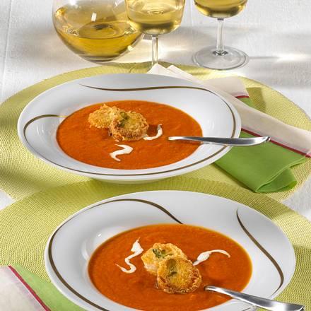 Tomaten-Möhren-Suppe mit Kräuter-Croûtons Rezept