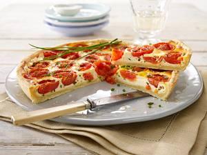 Tomaten-Quiche mit Schnittlauch-Eiermilch und Ricotta Rezept