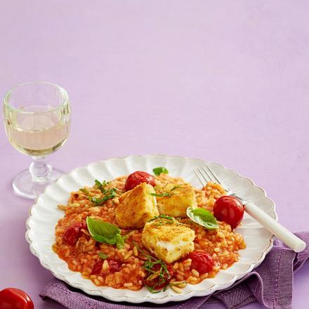 Tomaten-Risotto mit panierten Feta-Schnitzeln Rezept