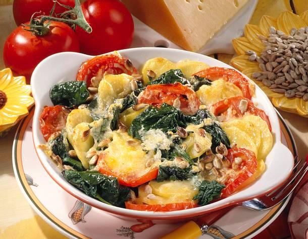Tomaten-Spinat-Gratin Rezept