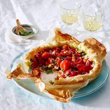 Tomaten-Tarte mit Rukola-Cashew-Pesto und Bell-Pepper Rezept