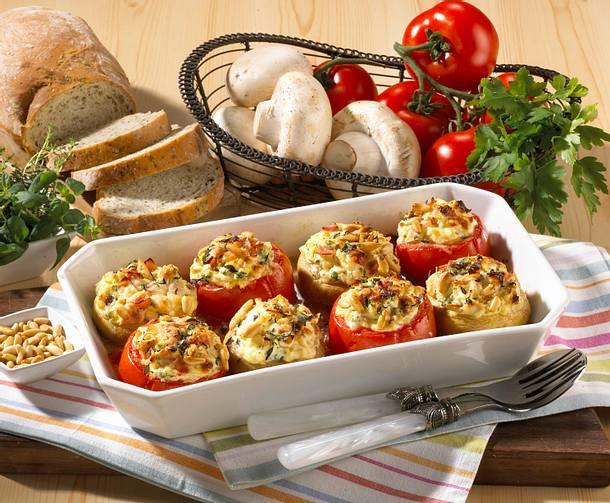 Tomaten und Pilze mit Käsefüllung Rezept