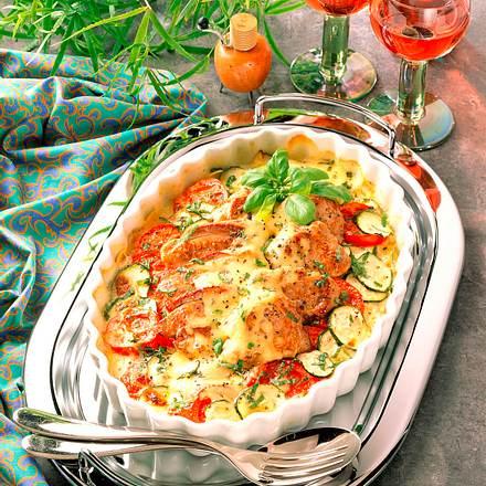 Tomaten-Zucchini-Gratin mit Schweinefilet Rezept