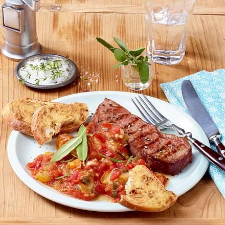 Tomatenragout aus dem Ofen mit Rindersteak Rezept